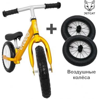 Cruzee UltraLite Balance Bike (Gold) + JETCAT Air Wheels SET (BLACK Kenda)