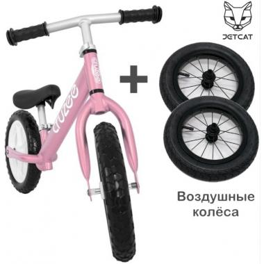 Cruzee UltraLite Balance Bike (Pink) + JETCAT Air Wheels SET (BLACK Kenda)
