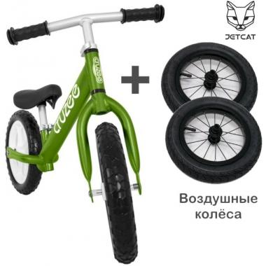 Cruzee UltraLite Balance Bike (Green) + JETCAT Air Wheels SET (BLACK Kenda)