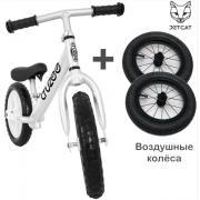 Cruzee UltraLite Balance Bike (Silver) + Air Wheels